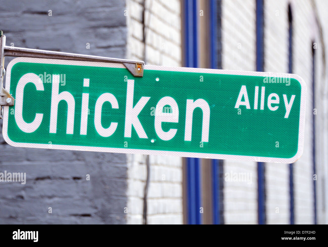 Street sign reading 'Chicken Alley' - Stock Image
