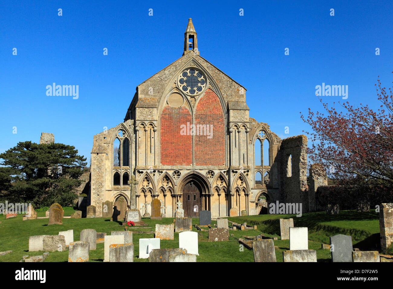 Binham Priory, Norfolk, West Front of monastic church, medieval English architecture, England UK, Benedictine Order - Stock Image