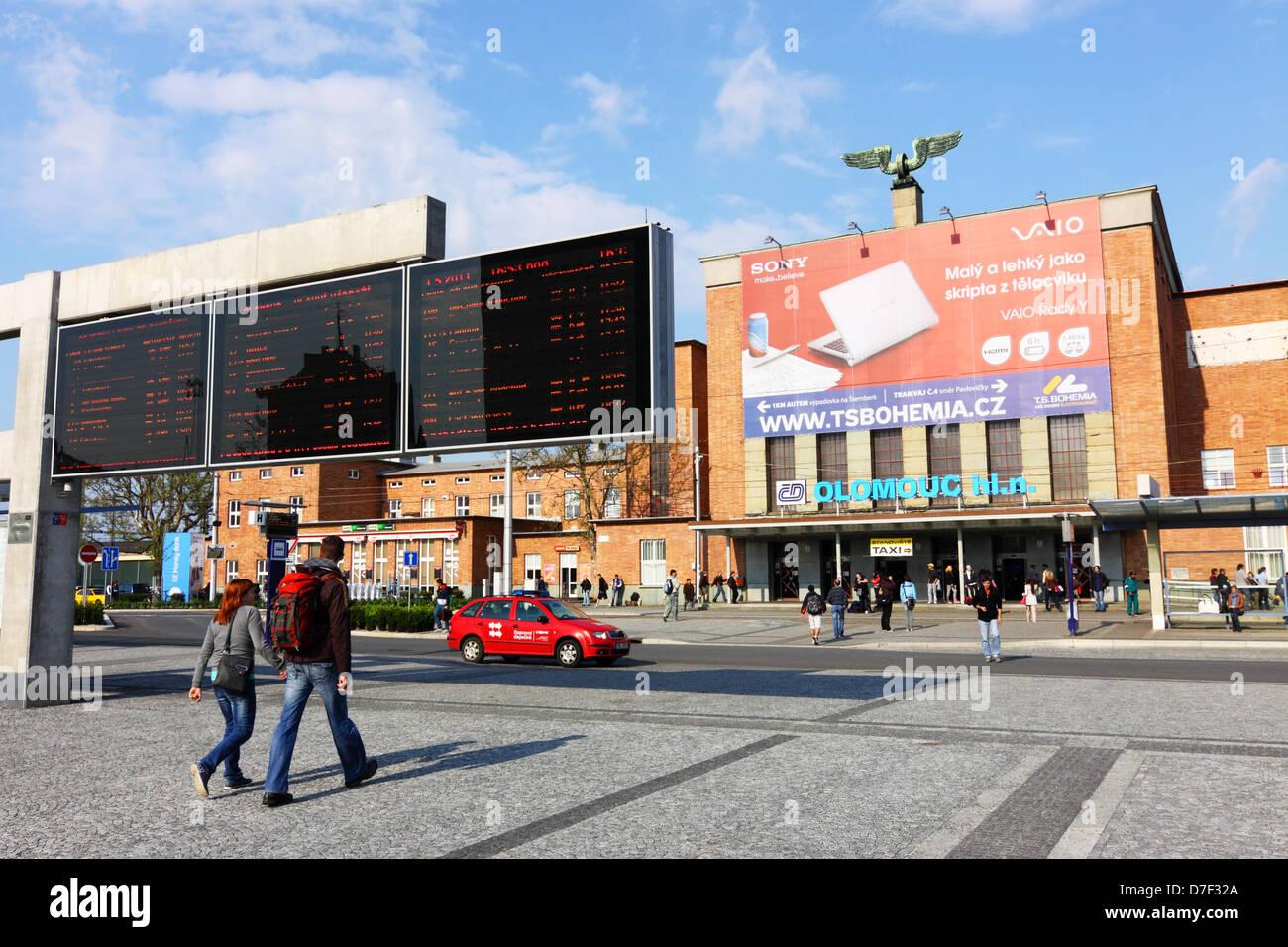 Olomouc train station building exterior Olomouc Czech Republic - Stock Image