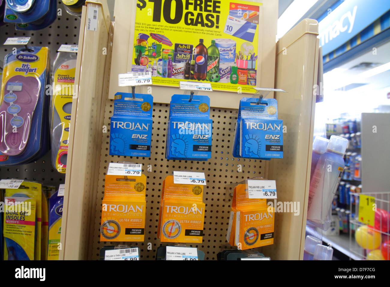 Miami Beach Florida CVS pharmacy drugstore for sale retail display  packaging competing brands shelves Trojan condoms