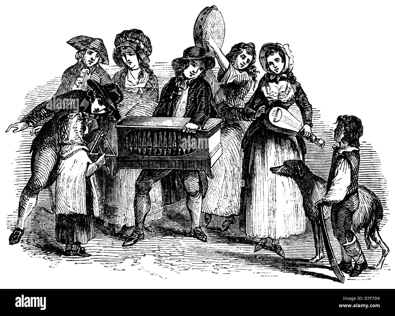 Street Musicians, from Dayes' Street Views, 1789 - Stock Image