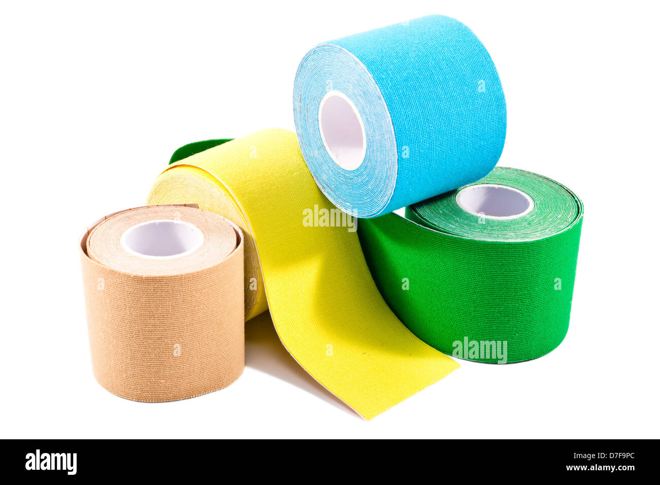 special physio tape rolling on white background stock photo