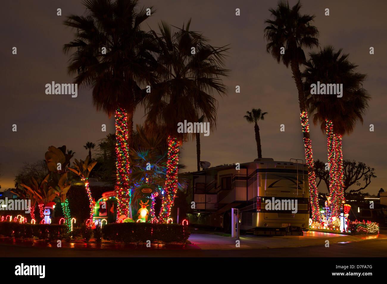 Christmas lights in Newport Dune RV Resort, Newport Beach, Orange County, California. - Stock Image