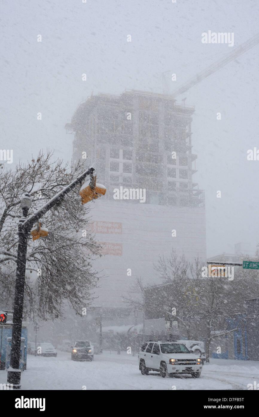 Whiteout in Calgary, Alberta - Stock Image
