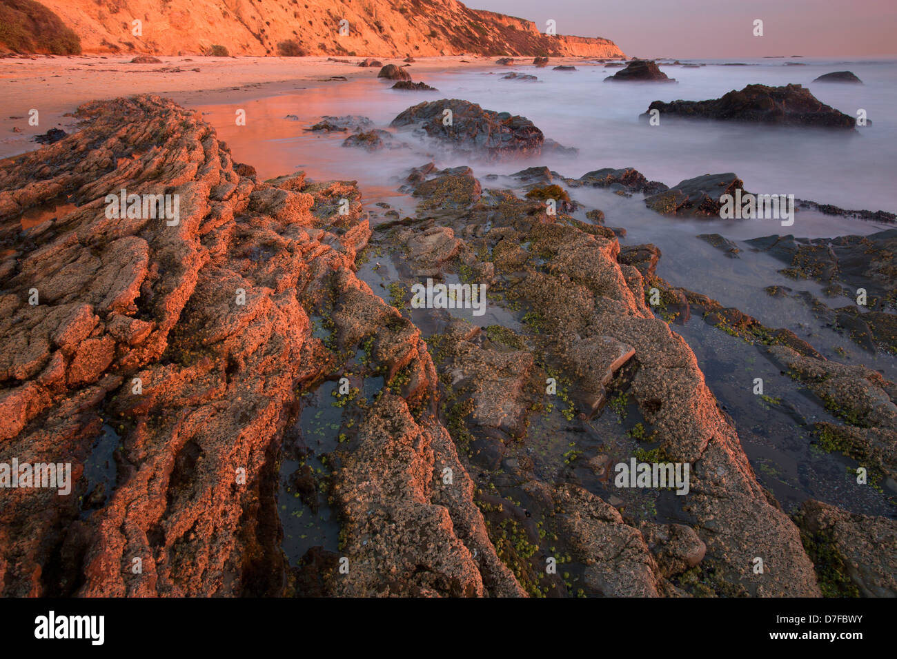 Sunset at Crystal Cove State Park, Newport Beach, Orange County, California. - Stock Image
