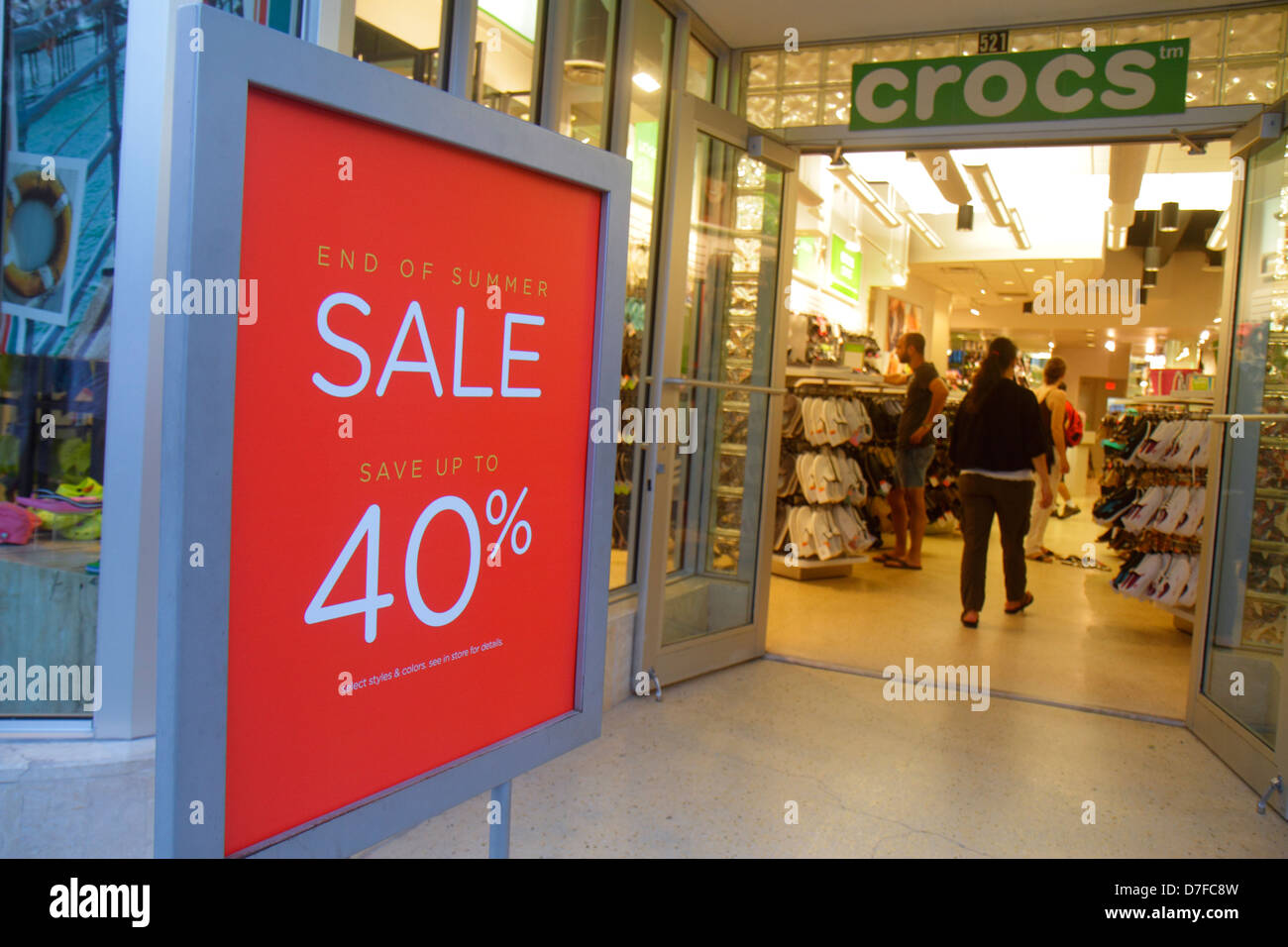 aacf84a3d Miami Beach Florida Lincoln Road pedestrian mall shopping shoe store front  entrance sign end of summer sale 40% off Crocs