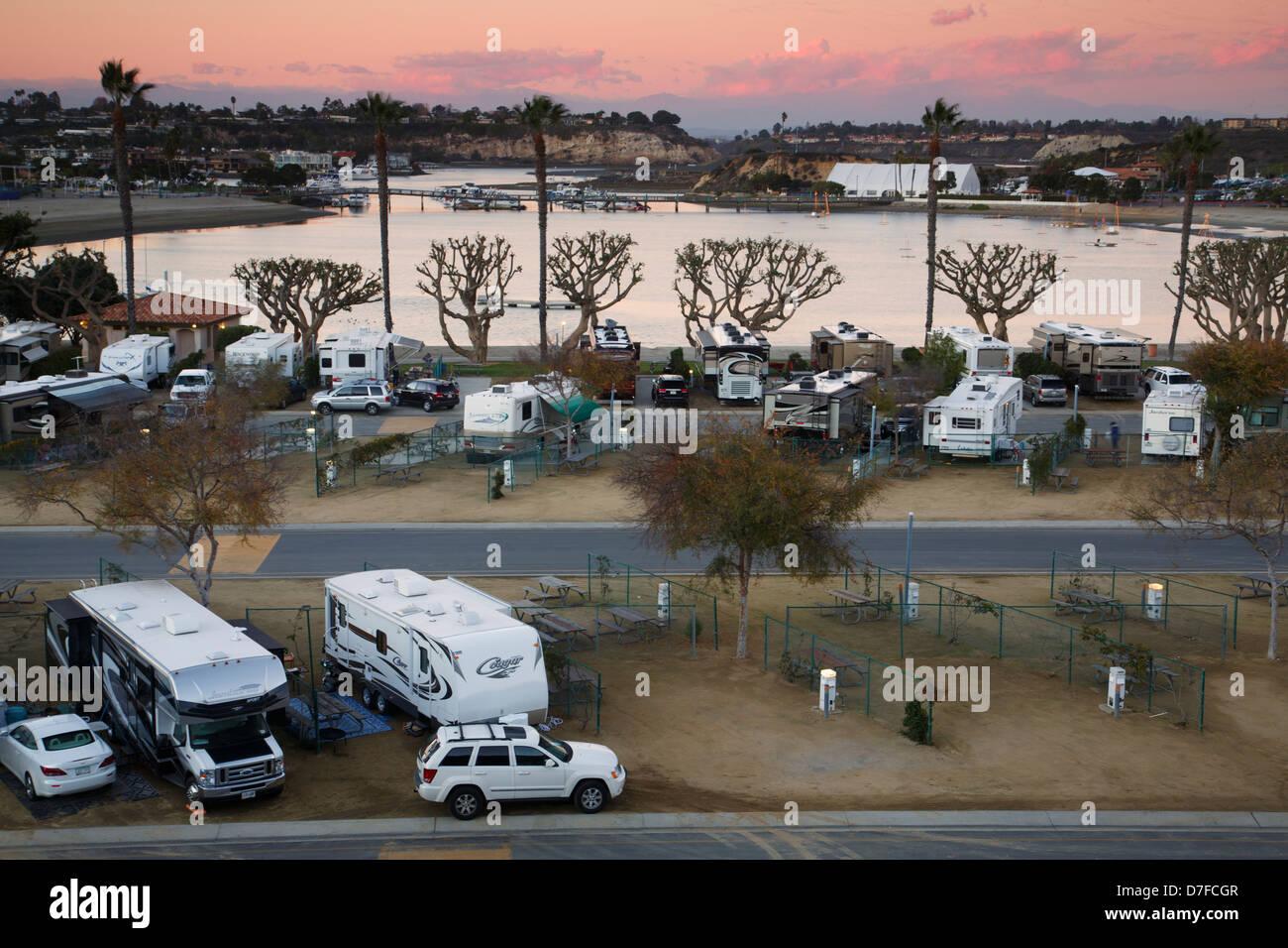 Newport Dune RV Resort, Newport Beach, Orange County, California. - Stock Image