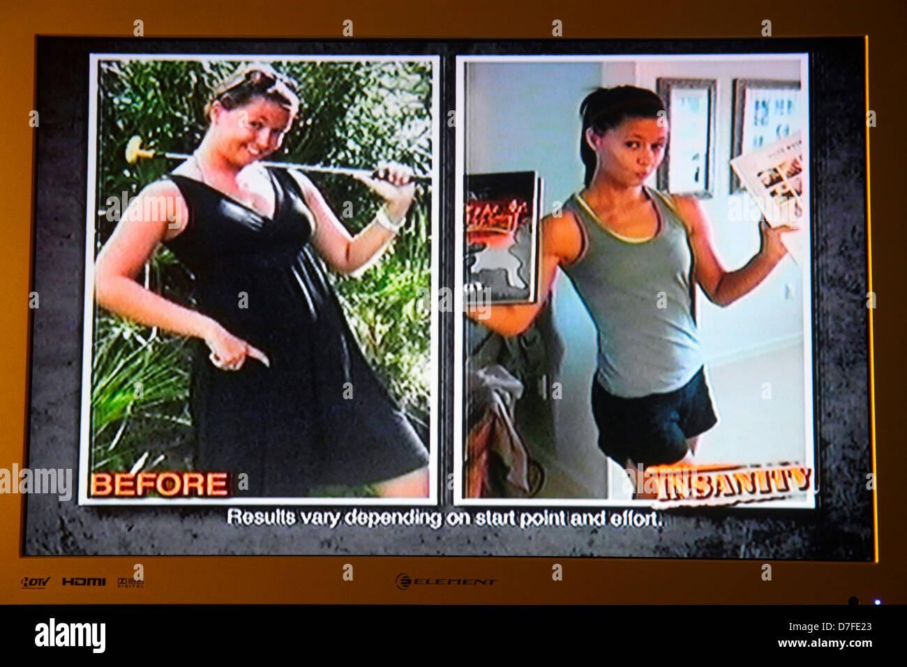Miami Beach Florida television TV flat screen monitor ad advertising commercial telemarketing Insanity fitness program - Stock Image