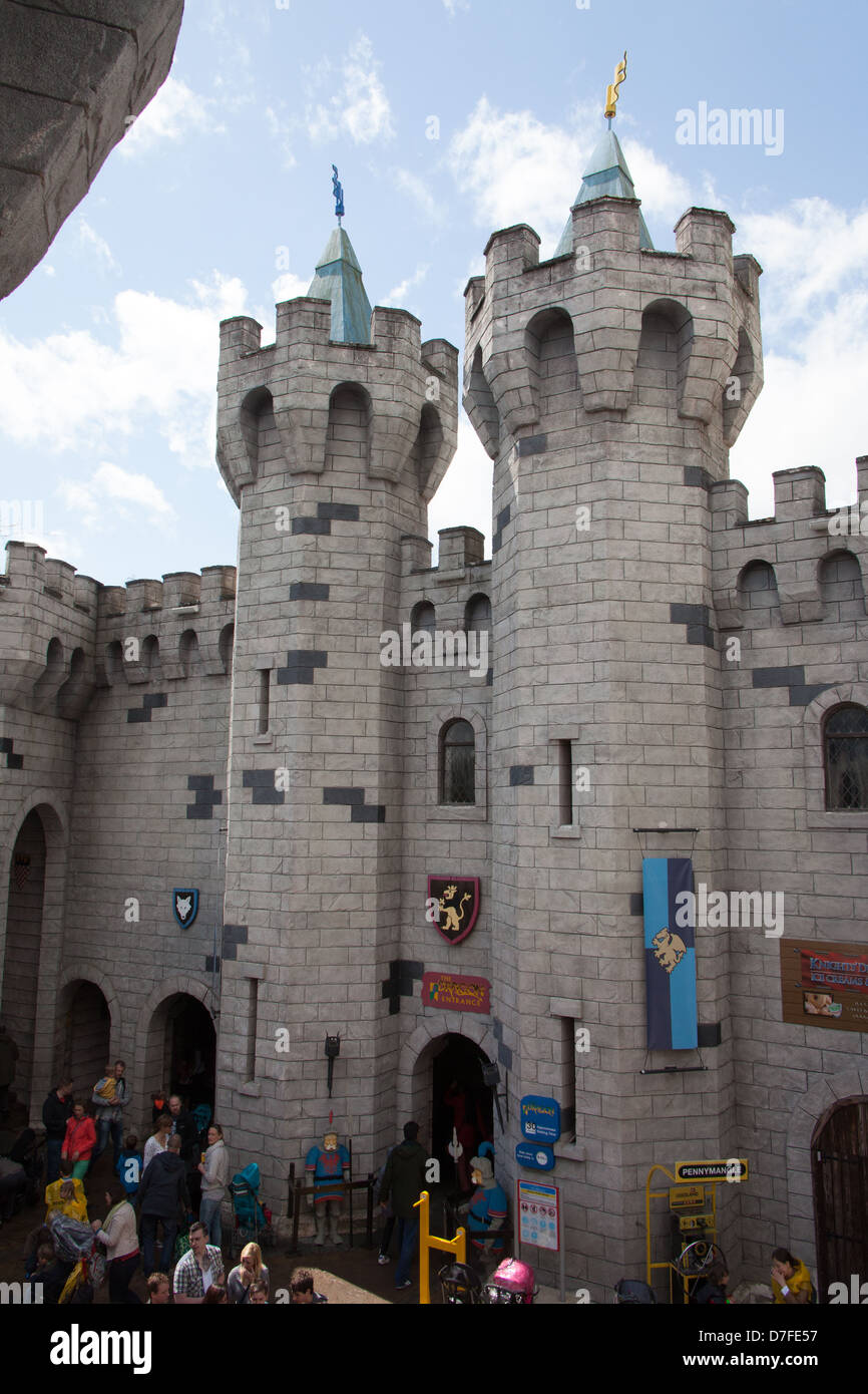 The castle containing the Dragon roller coaster ride, Legoland Windsor, London, England, United Kingdom. Stock Photo