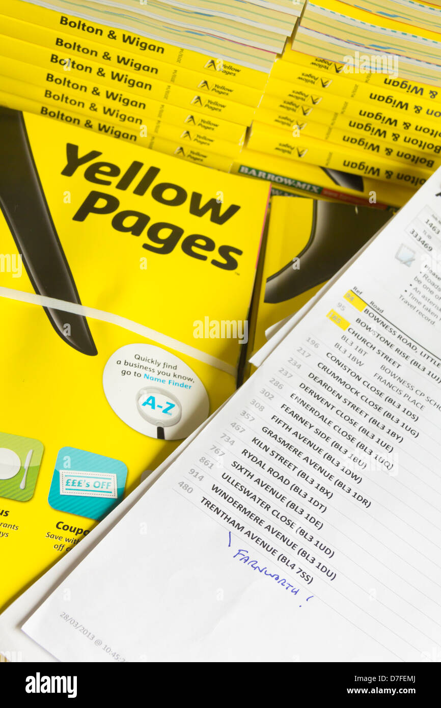 Bundles of Yellow Pages business telephone directory for the