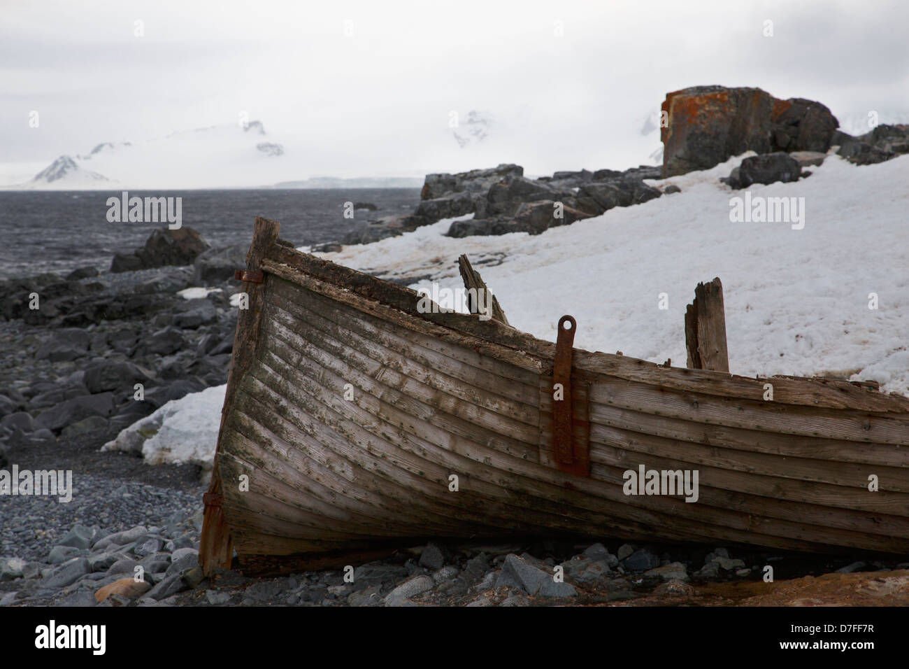 An old dory on Half Moon Island, Antarctica. - Stock Image
