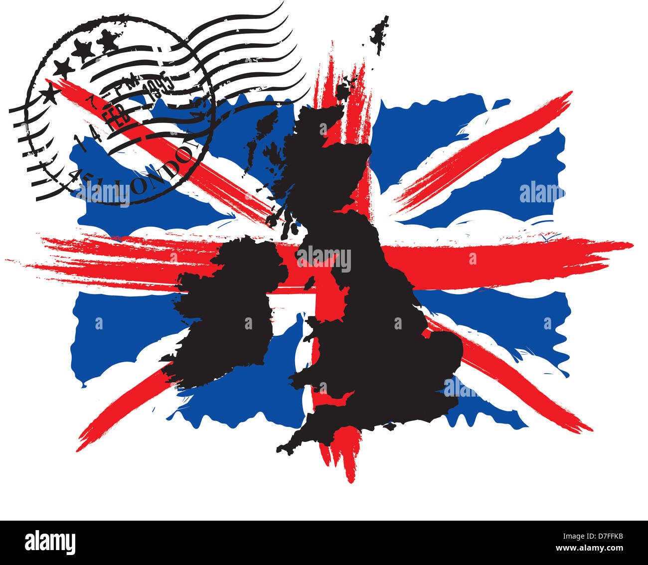 flag,English,map,England,UK,postmark,nation,state,silhouette,britain,europe,island,queen,blue, red, - Stock Image