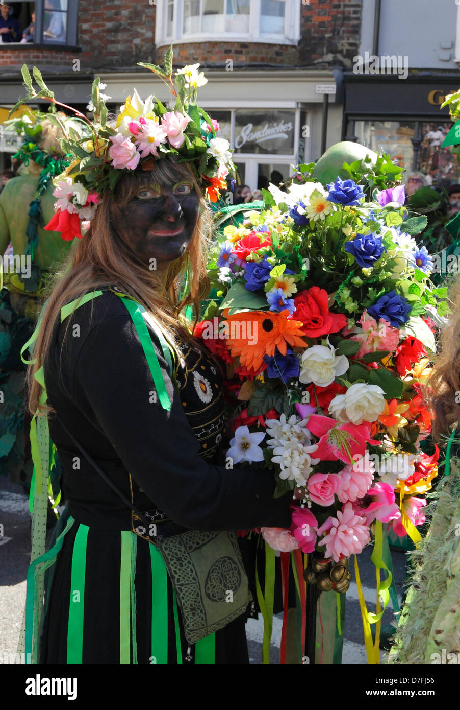 Black Sal, traditional figure at the annual Jack in the Green May Day Parade Hastings, East Sussex, England, GB, - Stock Image