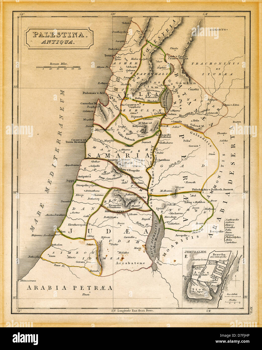 An old 19th century map engraved printed in England in 1845 depicting ancient Palestine ('Antiqua Palestina' - Stock Image