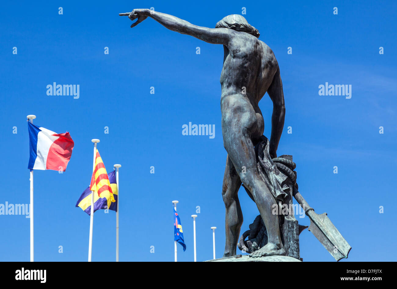 France Toulon the Genius of Navigation statue in the harbor square - Stock Image