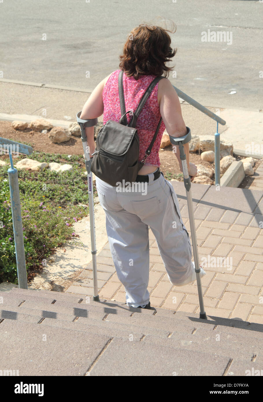 Unsafe access for handicapped person - Stock Image