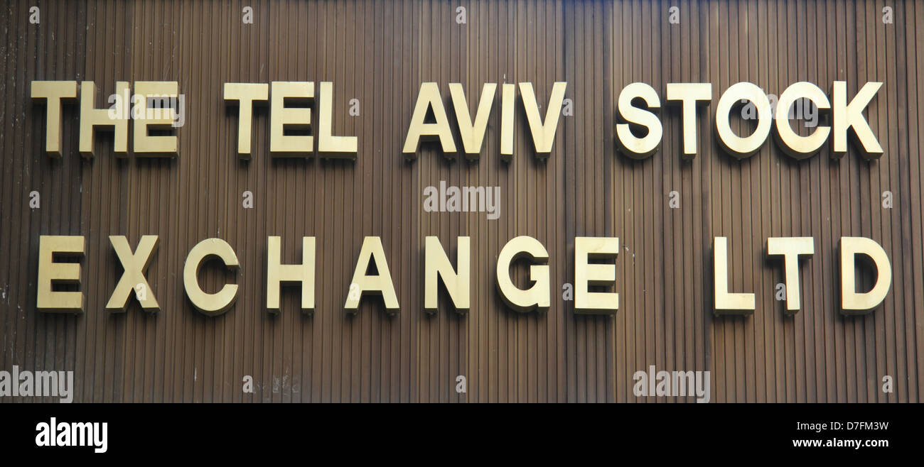 The Tel Aviv Stock Exchange Ltd at 54 Ahad Ha'am street in Tel Aviv - Stock Image