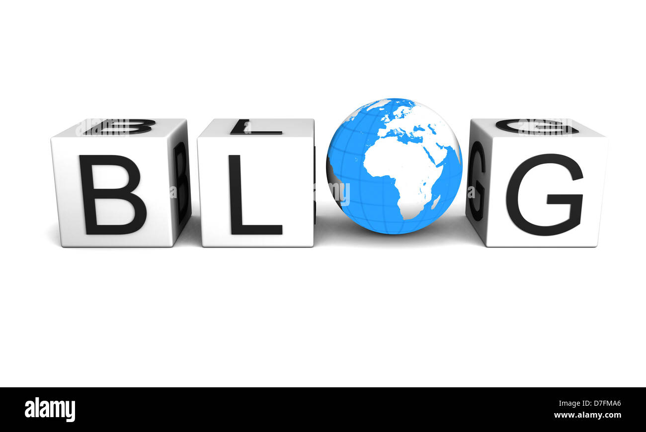 Concept of global blog isolated on white background. Elements of this image furnished by NASA. - Stock Image