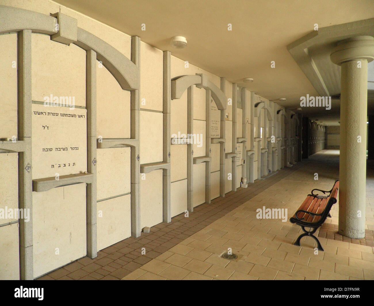 Burial chambers at Kiryat Shaul multi floors tower cemetery in Tel Aviv - Stock Image