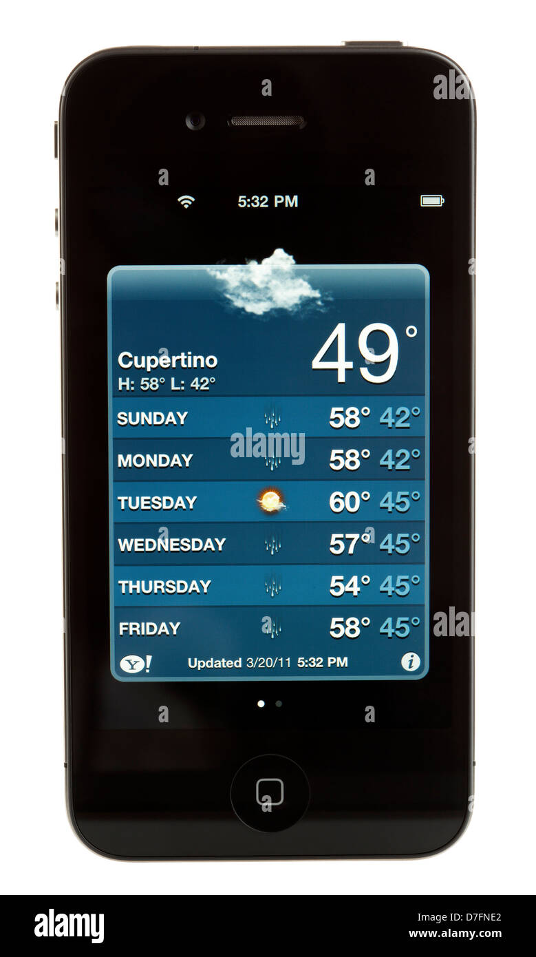 Tel-Aviv Israel - March 20th 2011: black 4th generation iPhone by Apple displaying weekly weather forecast on its - Stock Image