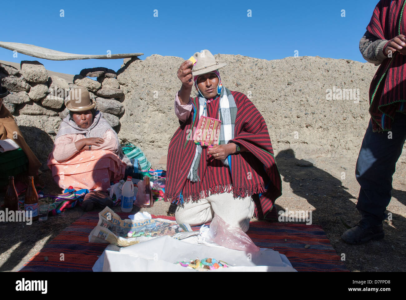 Ceremony aymara to the Mother Earth, Pachamama - Stock Image