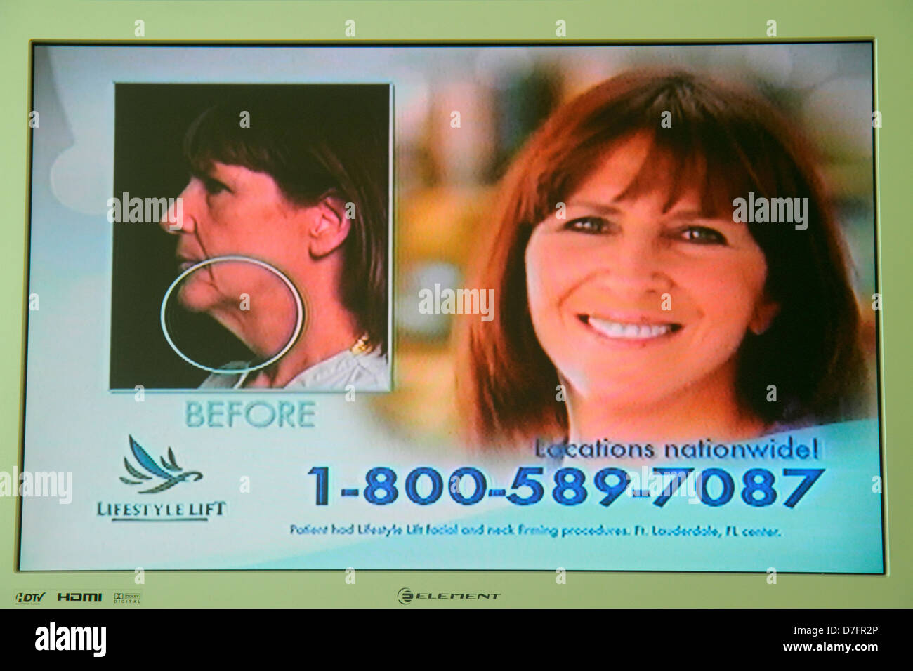 Miami Beach Florida TV television screen flat panel HDTV monitor toll-free phone number commercial ad Lifestyle Stock Photo