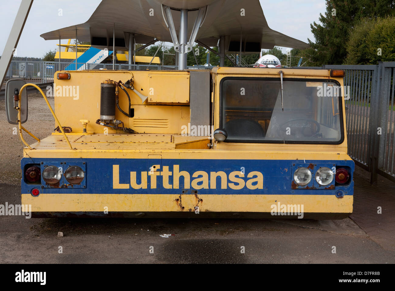Old Lufthansa aircraft tractor or pusher, - Stock Image