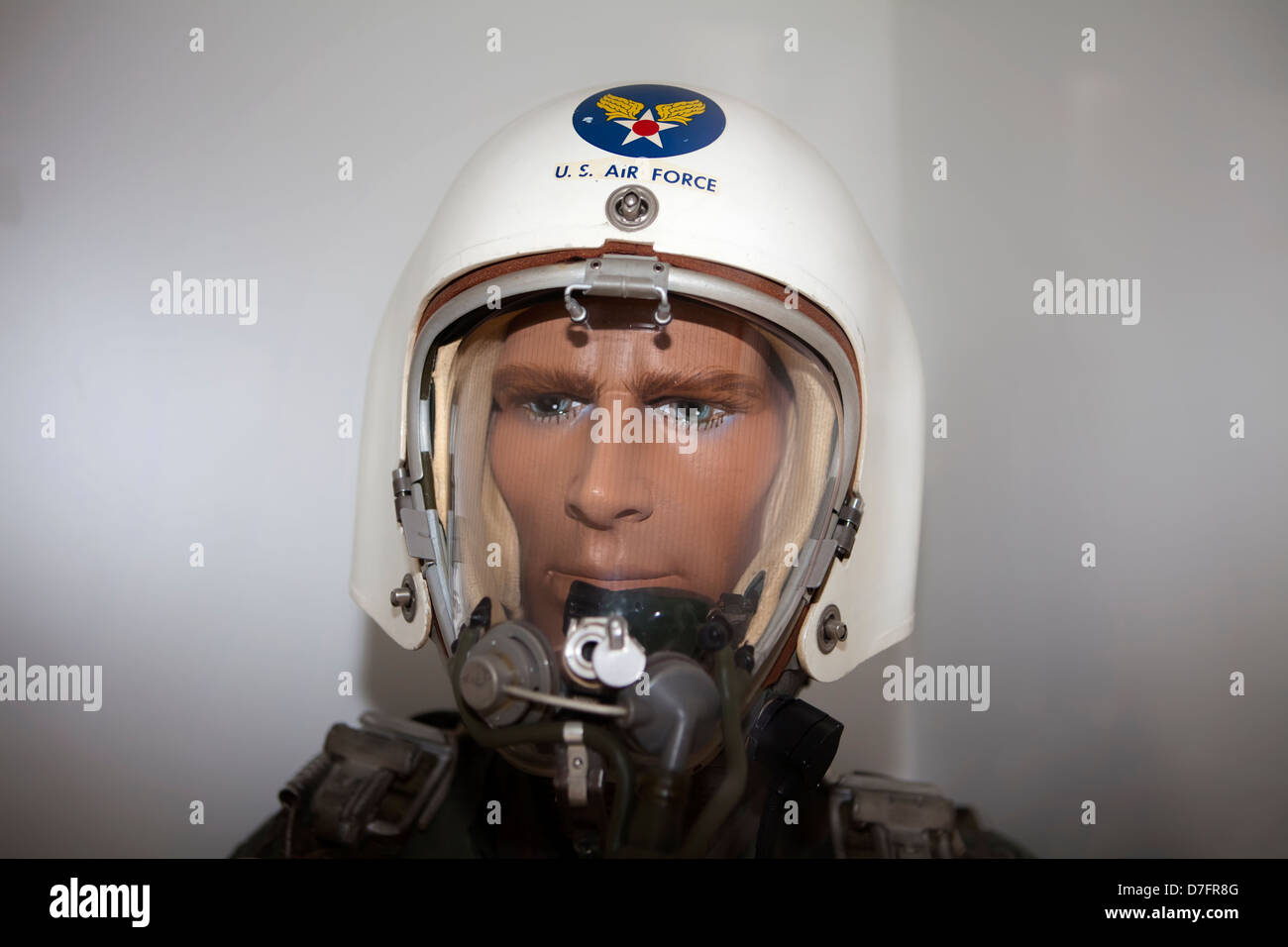Model of a Fighter Pilot with a pressure suit, US Air Force, Aircraft Collection near Hermeskeil, Rhineland-Palatinate, - Stock Image