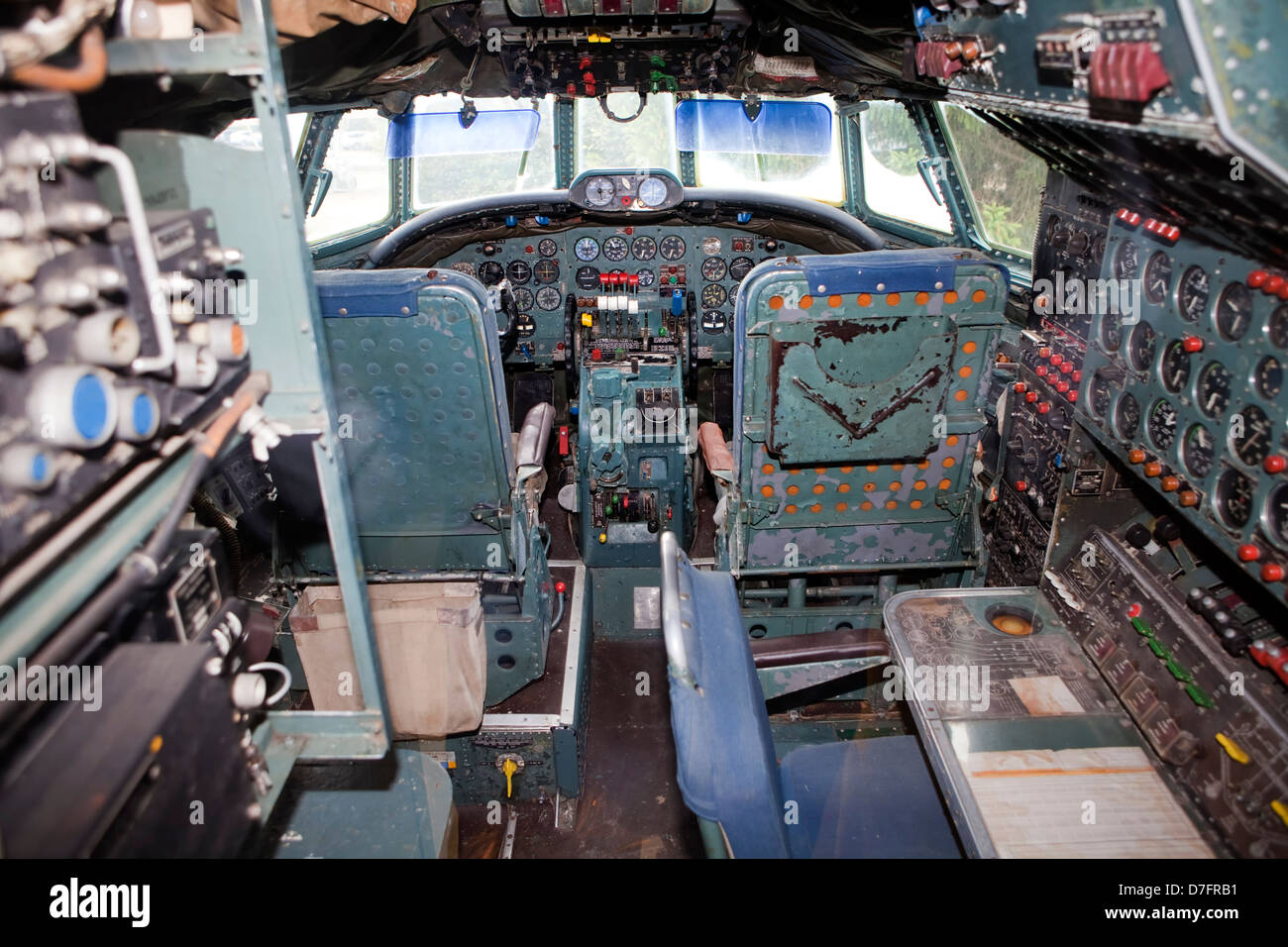 Cockpit of the passenger aircraft Lockheed Super Constellation or Super Connie, Aircraft Collection Hermeskeil, - Stock Image