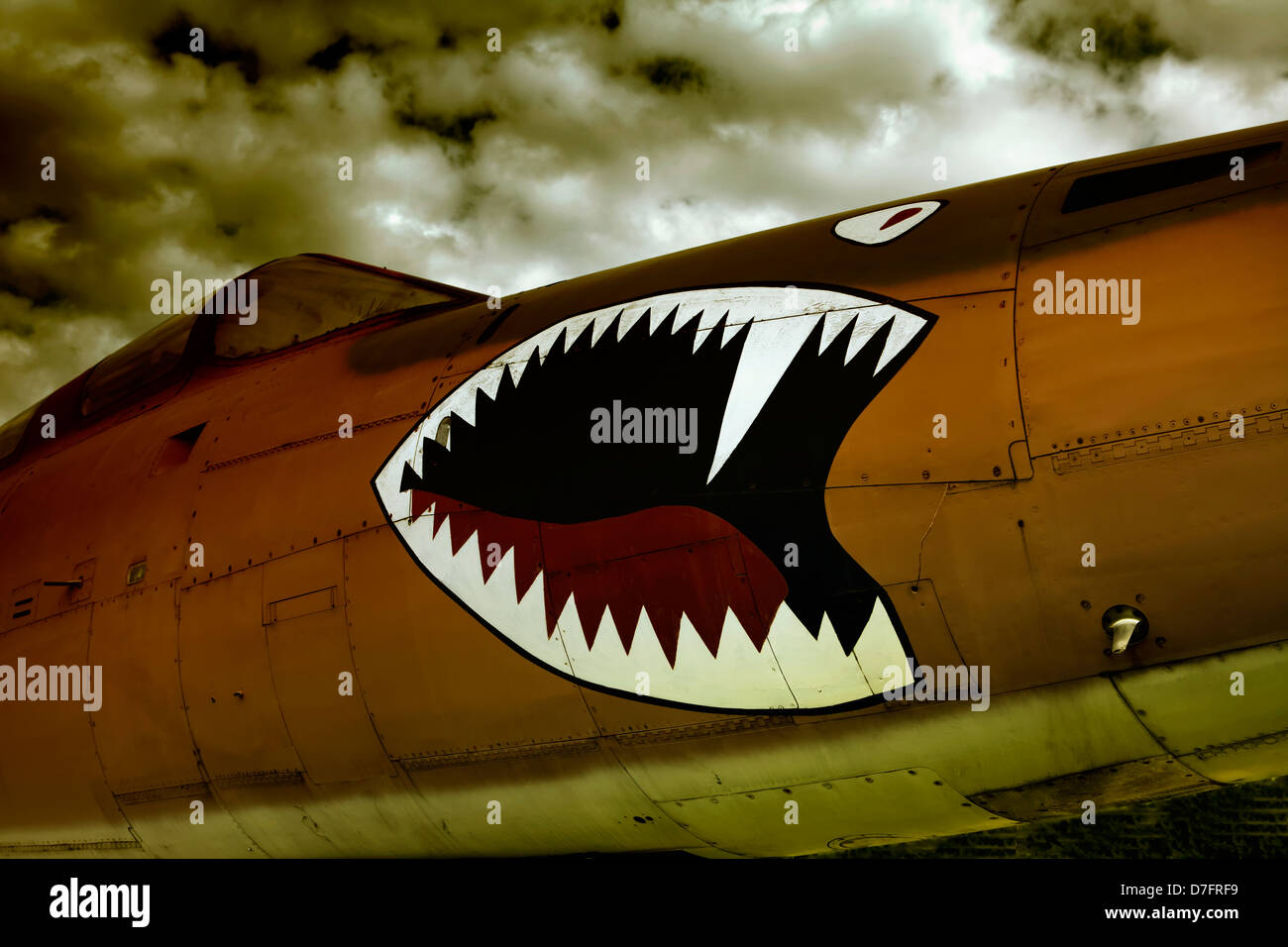 Detail of a Republic F-105 Thunderchief or Thud, belgian airforce, Aircraft Collection Hermeskeil, Germany, Europe - Stock Image