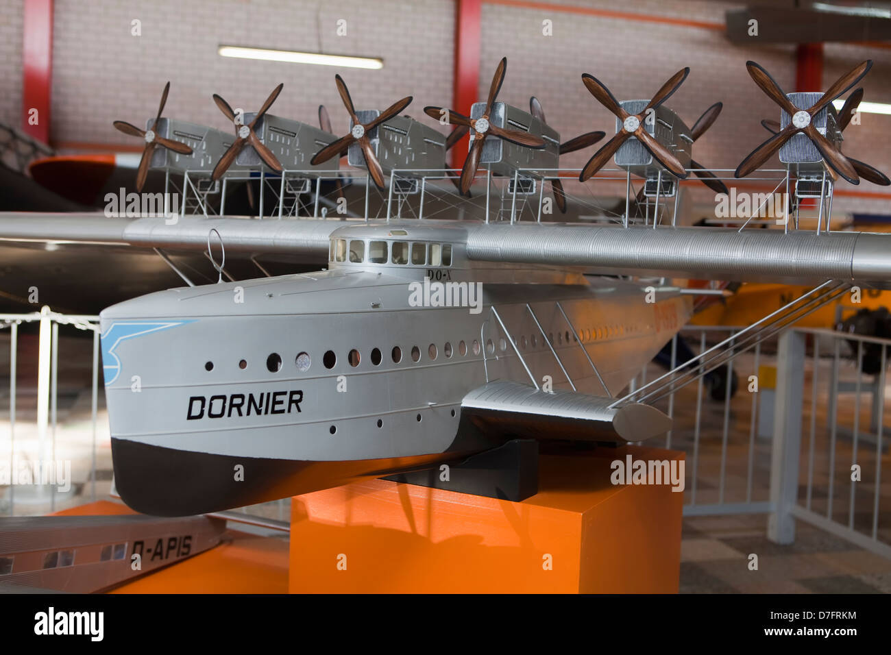 Model of the passenger aircraft Dornier Do X, Aircraft Collection Hermeskeil, Germany, Europe - Stock Image
