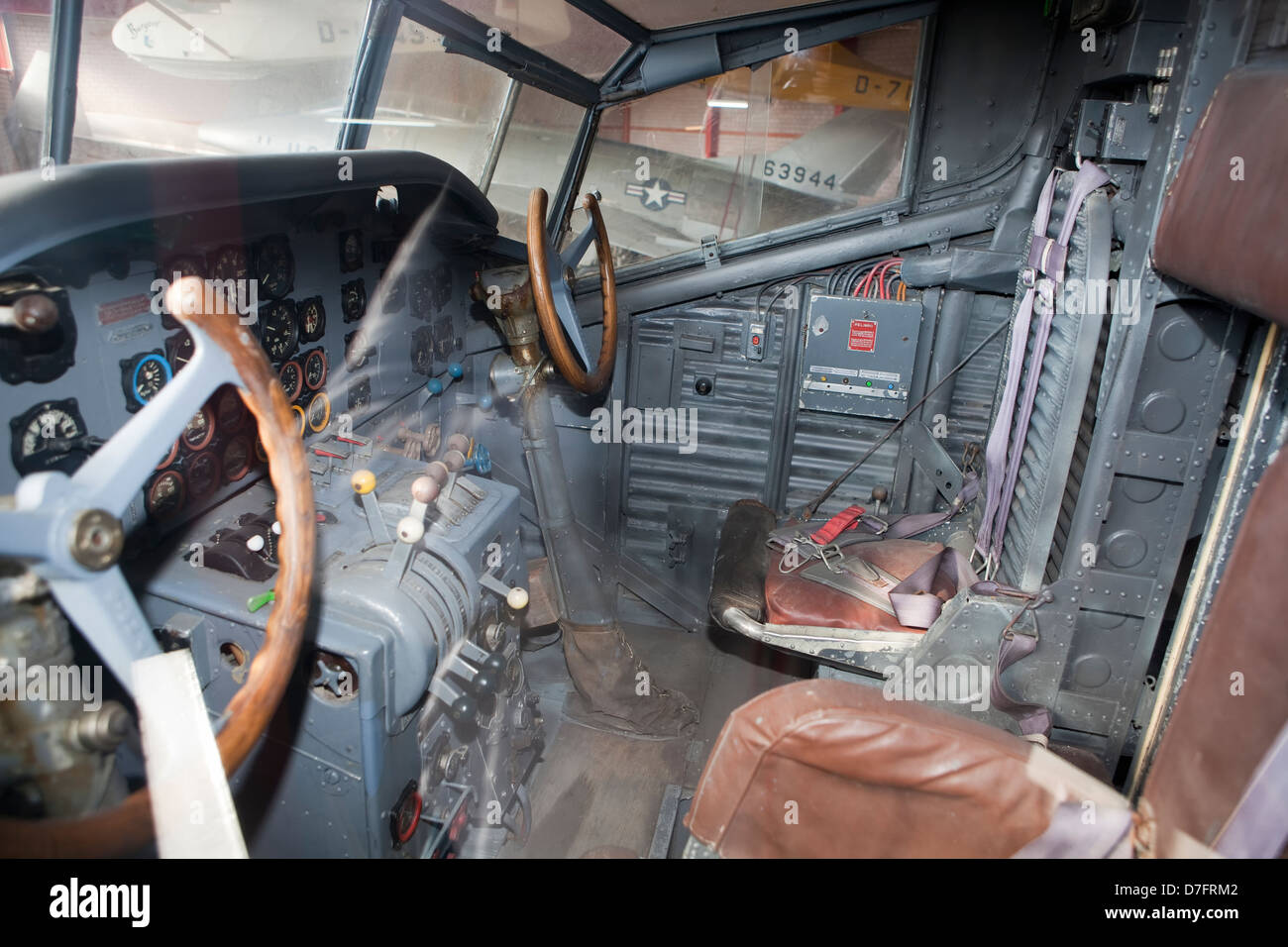 Cockpit of the passenger aircraft Junkers JU-52, Germany, Europe, Aircraft Collection Hermeskeil, Germany, Europe - Stock Image