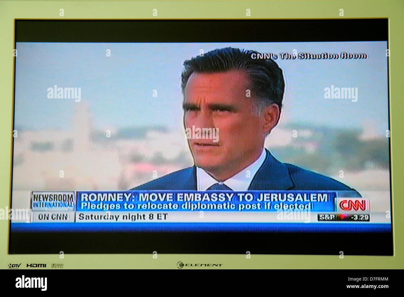 Miami Beach Florida TV television screen flat panel HDTV monitor CNN cable news Mitt Romney Republican presidential - Stock Image