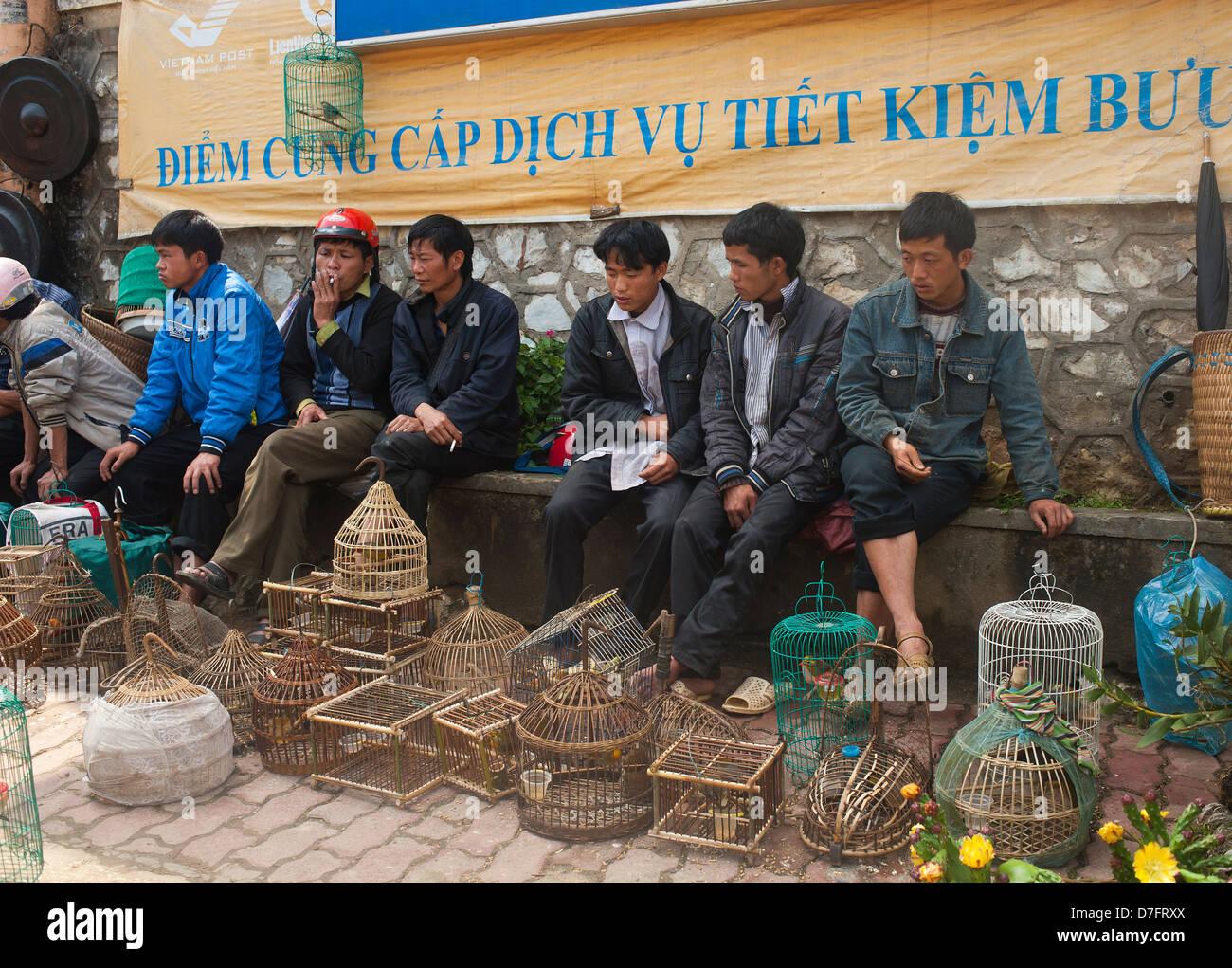 Sapa Northeast Vietnam - Men of the black hmong hilltribe selling birds - Stock Image