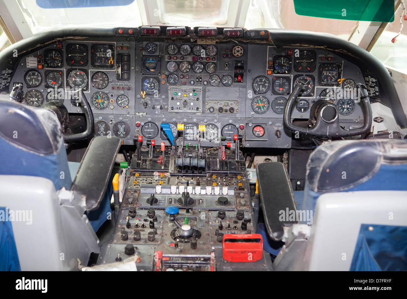Cockpit of a Vickers VC10, a long-range British airliner, 1962, Aircraft Collection Hermeskeil, Germany, Europe - Stock Image