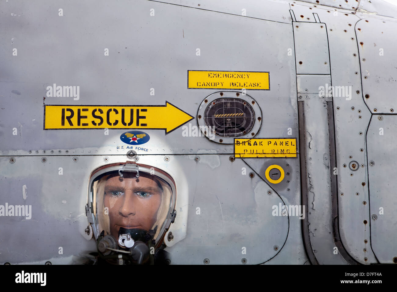 Model, Fighter Pilot with a pressure suit, US Air Force, Symbol ejection seat, Aircraft Collection Hermeskeil, Germany, - Stock Image