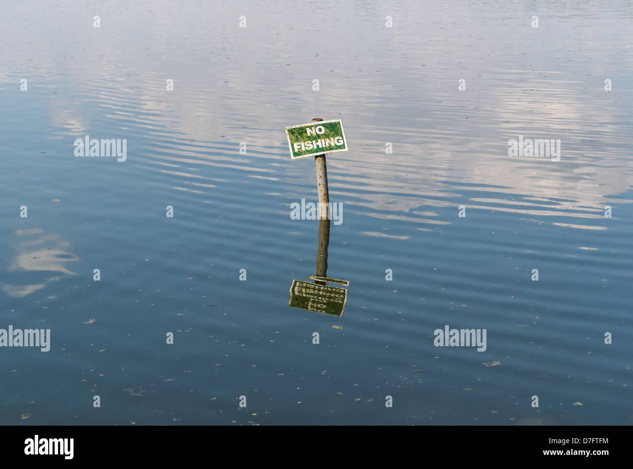 No fishing sign with reflection in dirty water - Stock Image