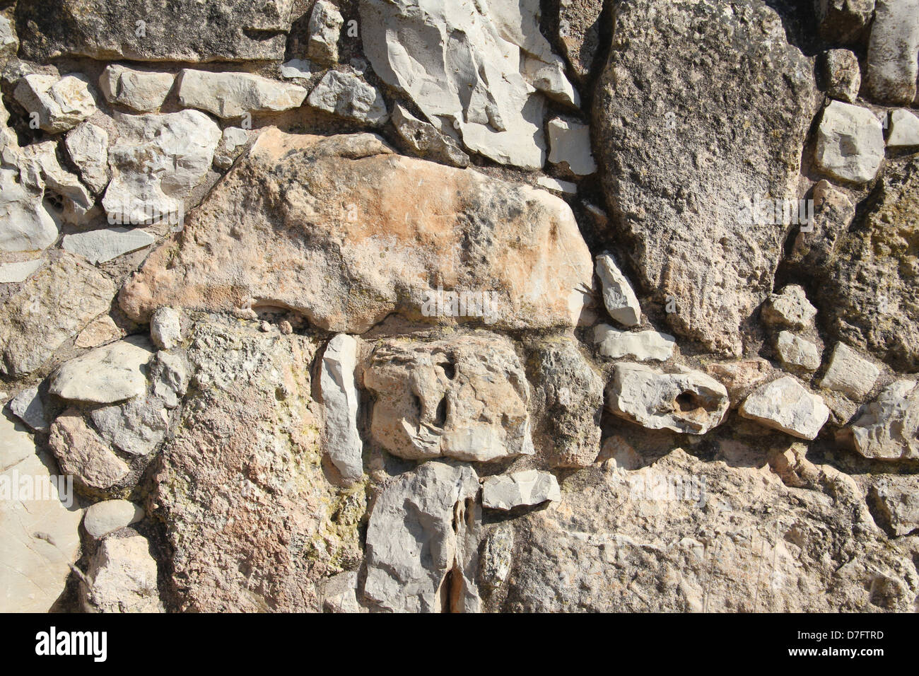 Reconstructed wall at ancient Yodfat, Galilee - Stock Image
