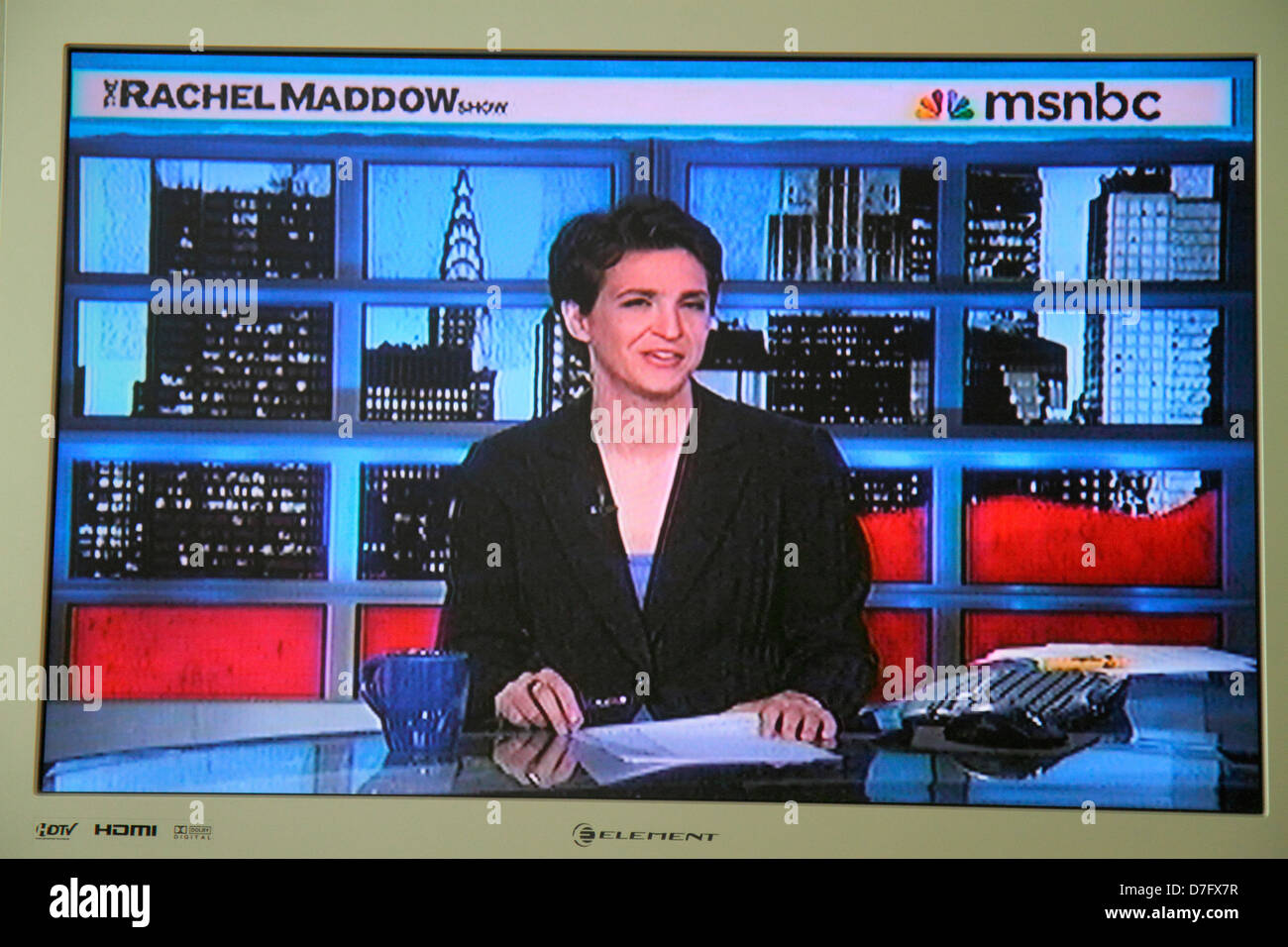 Miami Beach Florida TV television screen flat panel HDTV monitor MSNBC Rachel Maddow Show political analyst commentator - Stock Image