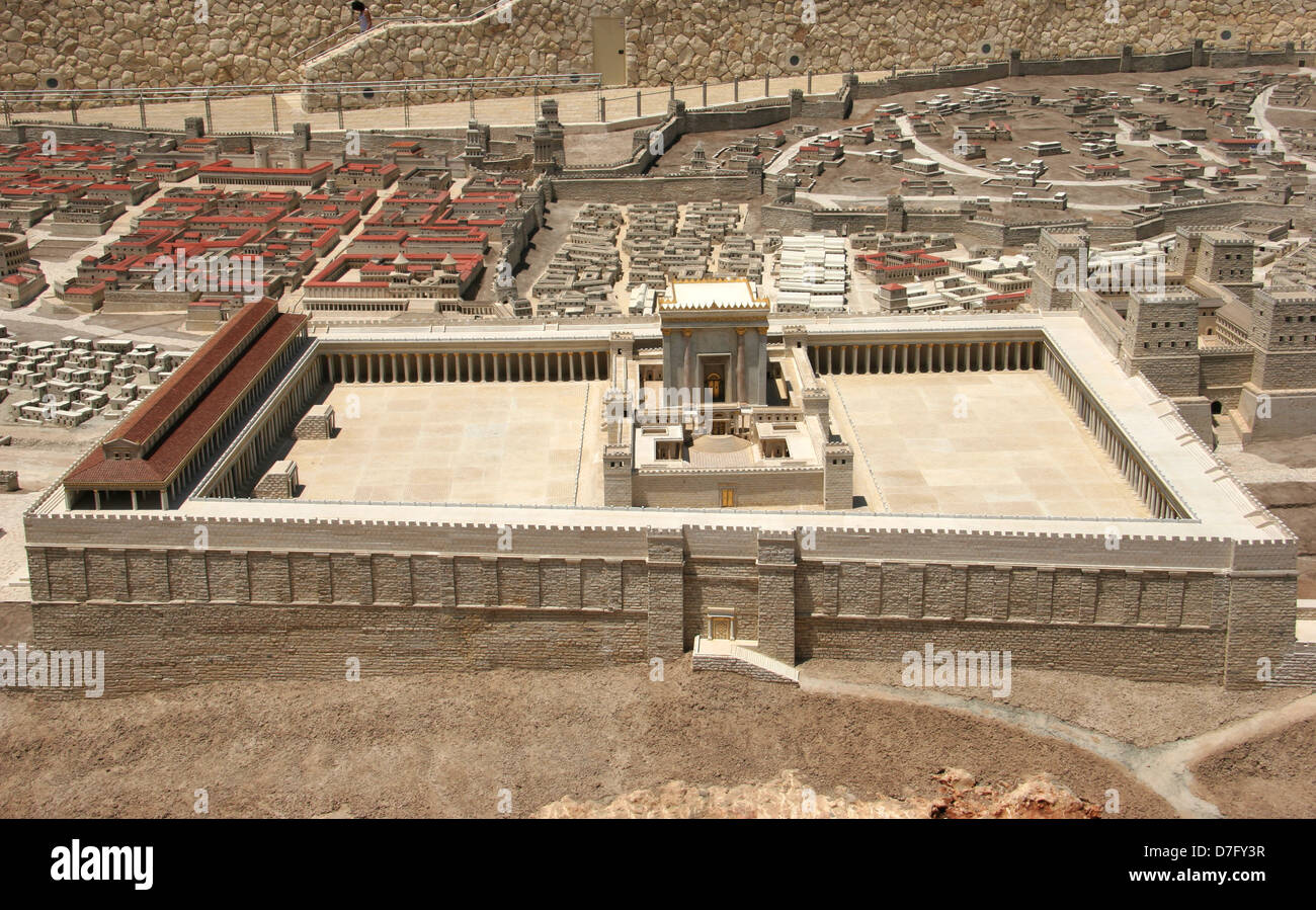 Reconstructed 2nd Temple as part of Model Of Ancient Jerusalem - Stock Image