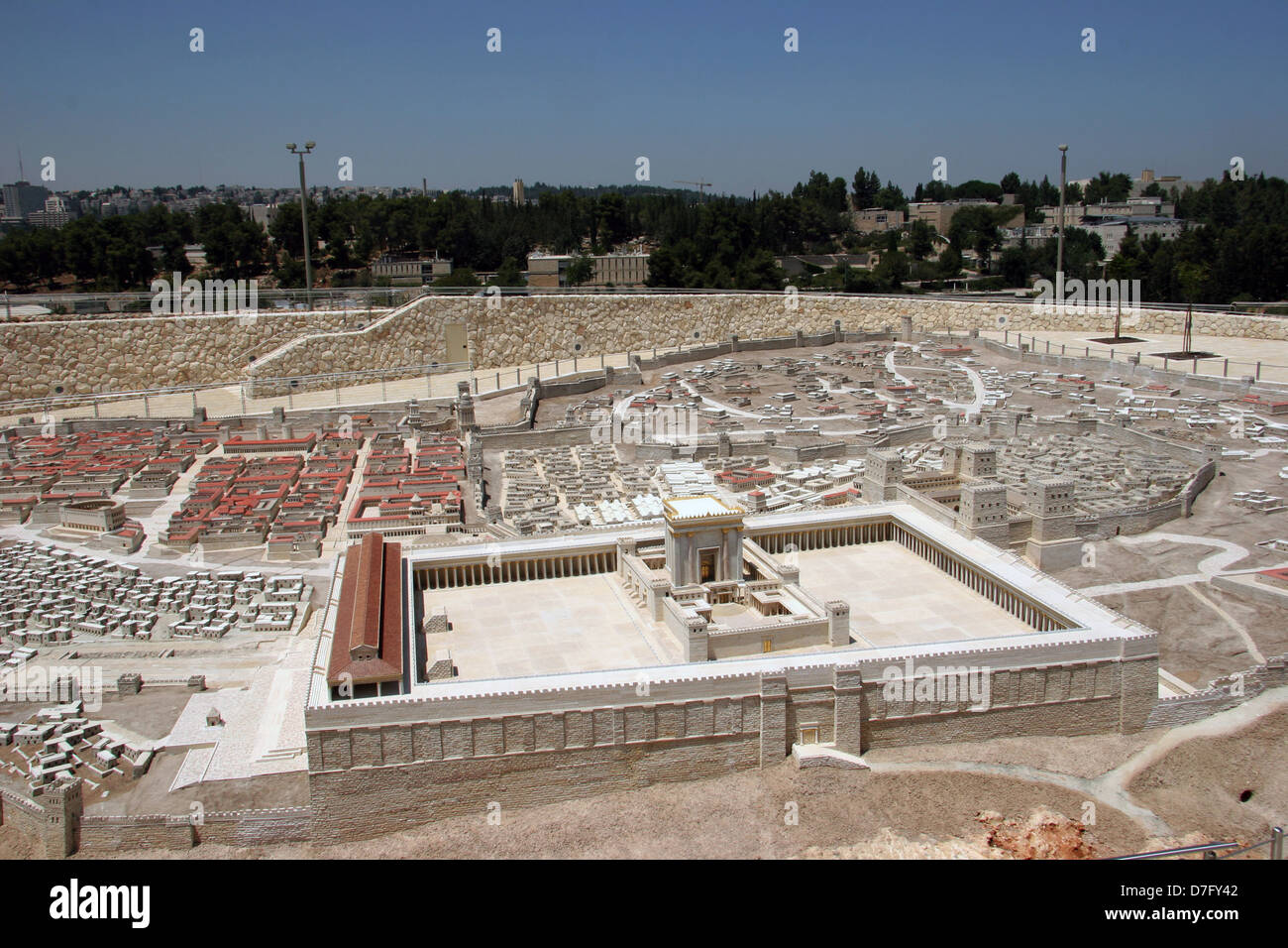 Reconstructed 2nd Temple as part of Model Of Ancient Jerusalem, exhibited at the Israel museum - Stock Image