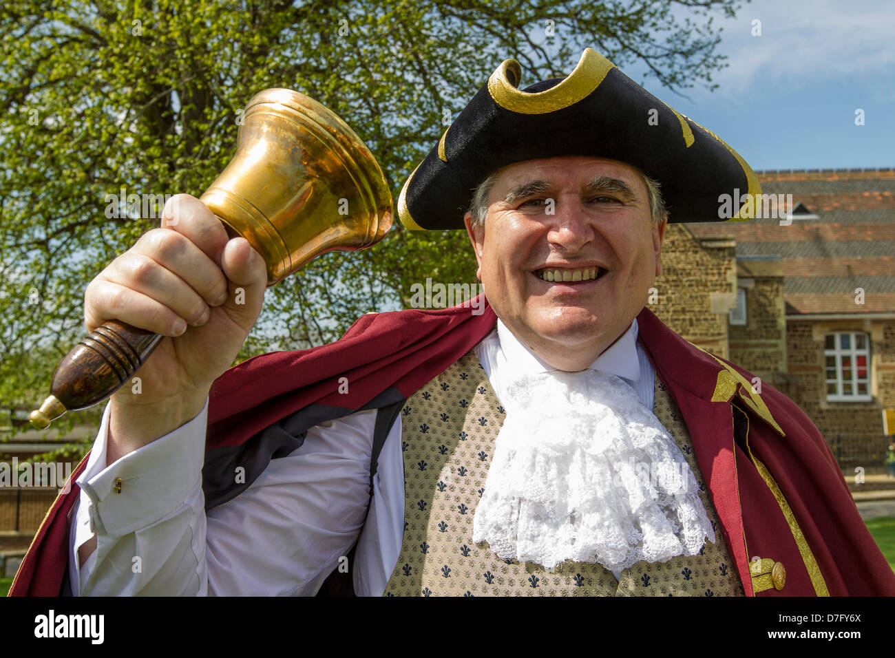 Leighton Buzzard and Linslade Town Crier, Peter Hailes, in full cry. - Stock Image