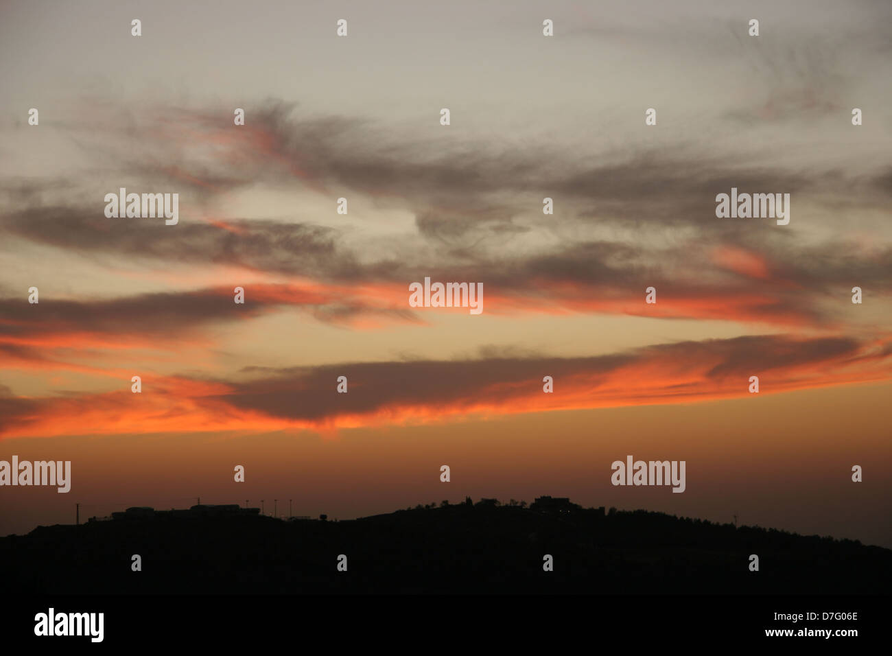 sunset over the western galilee - Stock Image