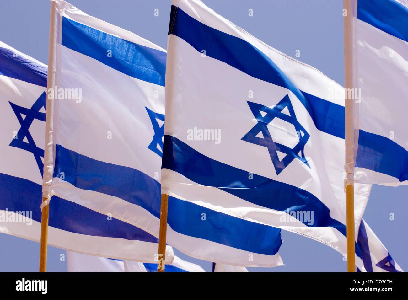 the israeli flags - Stock Image