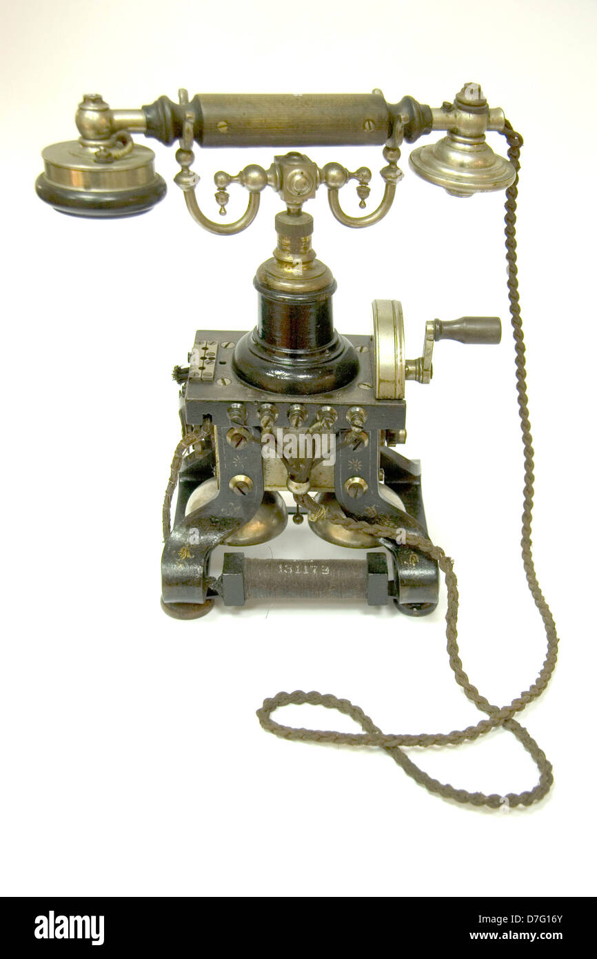 antique rotary telephone - Stock Image