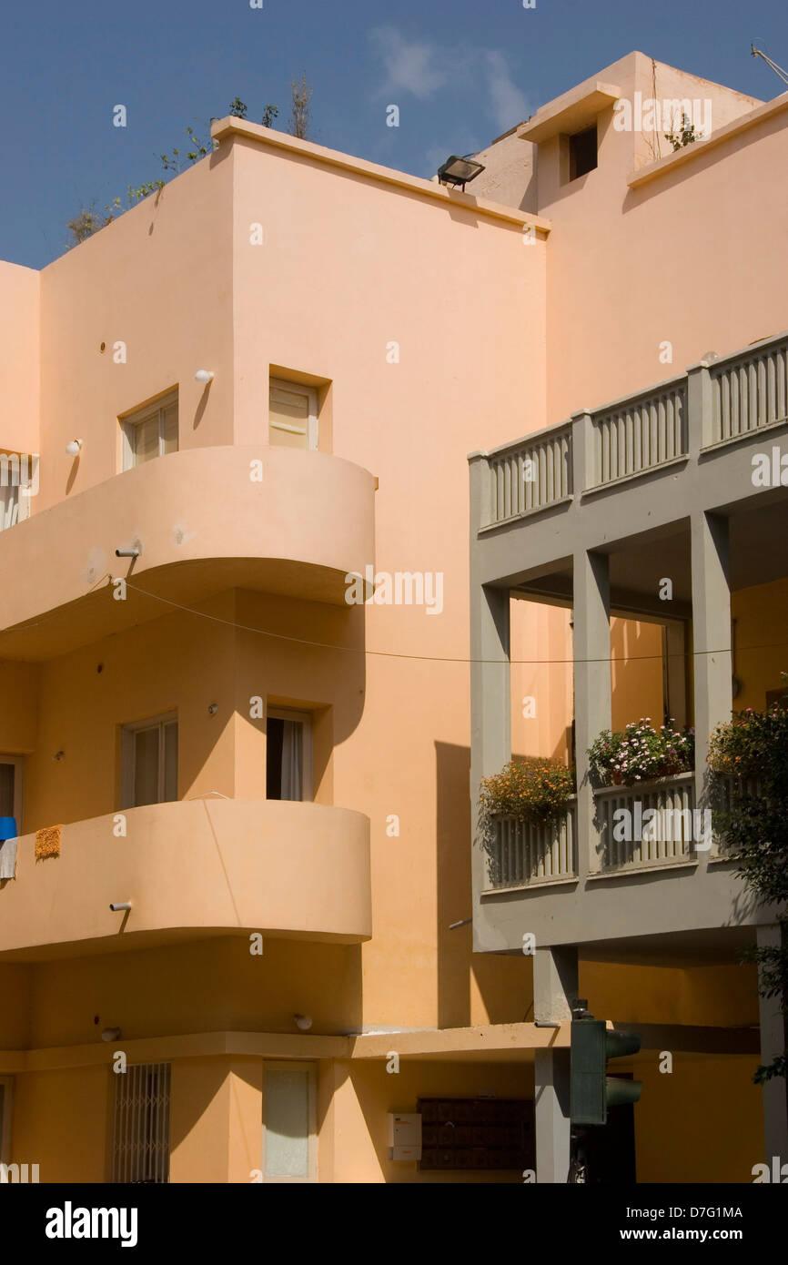 bauhaus architecture in rothschild boulevard, tel aviv - Stock Image