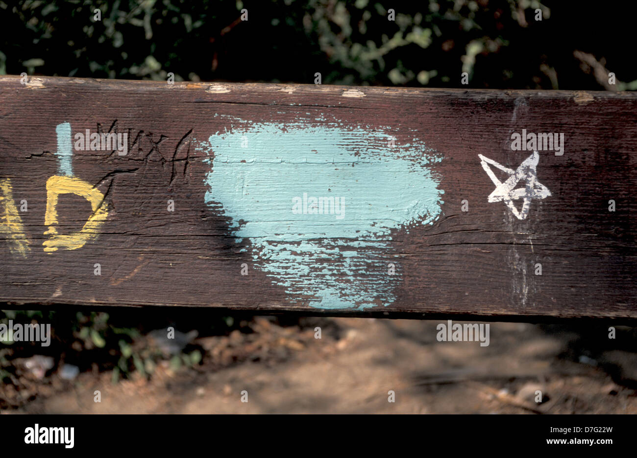 satan symbol marked on a bench in beer sheva - Stock Image