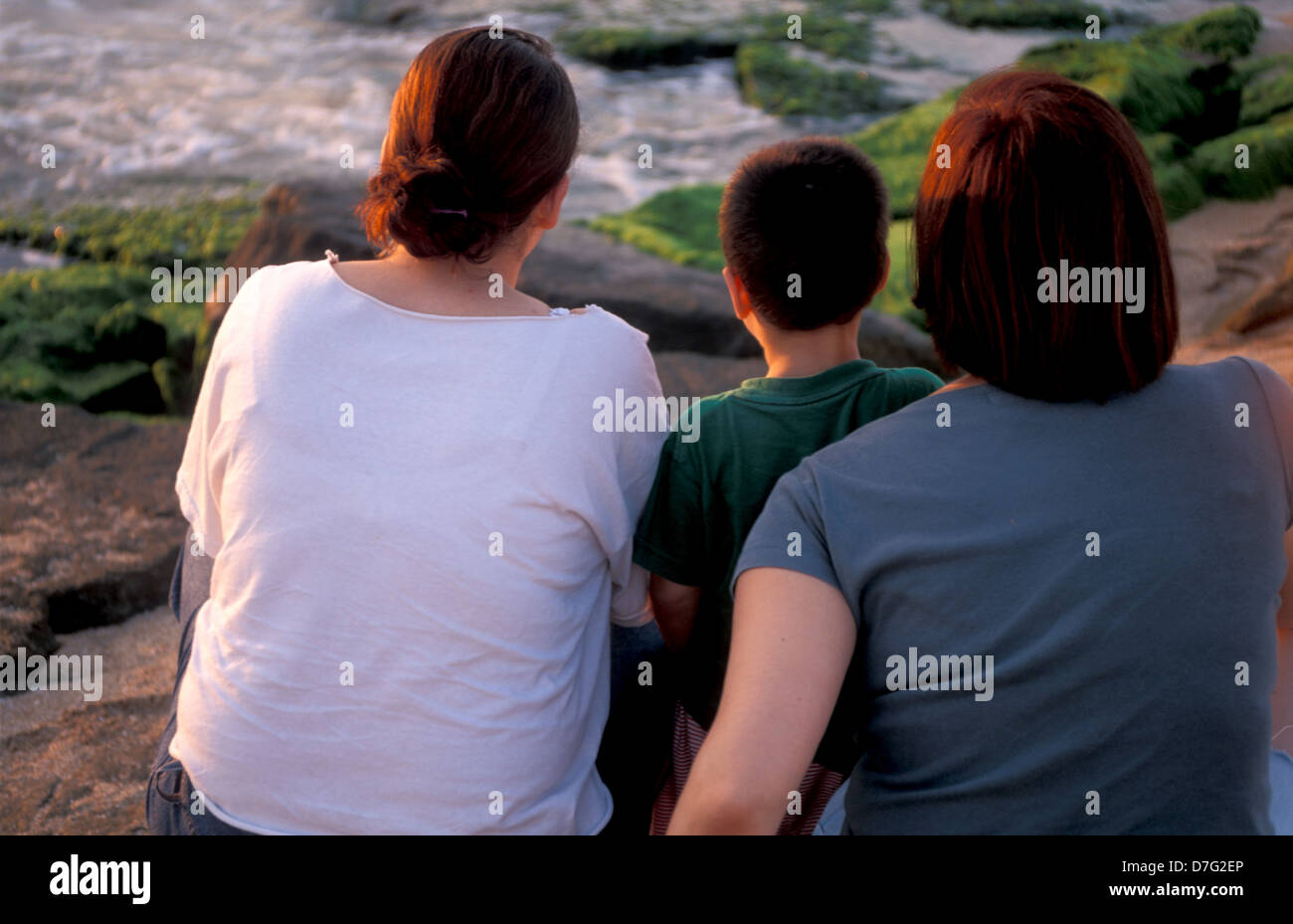 family on the beach of nahariya - Stock Image