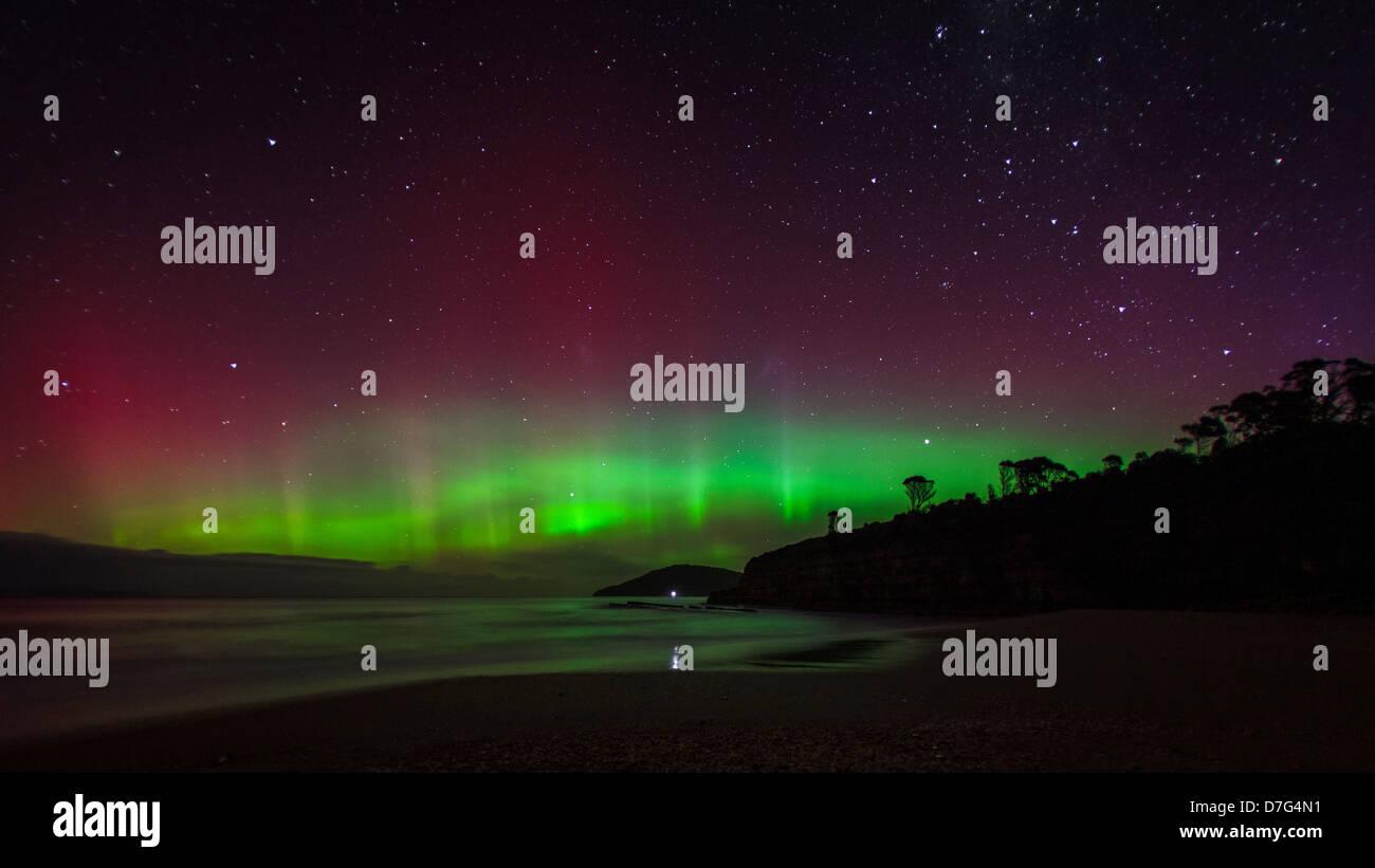 Southern Lights of Aurora Australis in Tasmania Australia - Stock Image