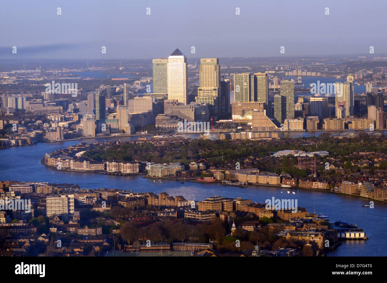 View towards East London, Docklands and Canary Wharf from The Shard, London - Stock Image